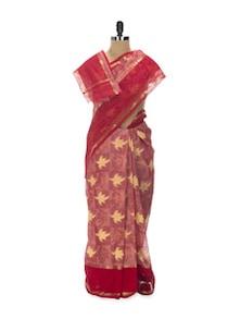 Red And Yellow Tant Cotton Bengal Handloom Saree - Aadrika Saree