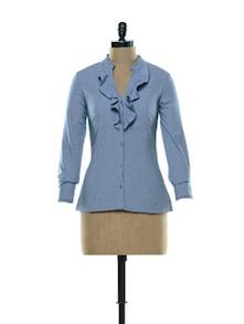 Ruffled Blouse In Brilliant Blue - Kaaryah