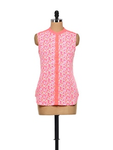 Floral Pink Shirt With Sheer Back - Meira