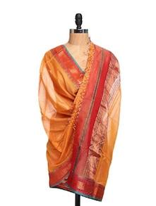 Orange And Gold Zari Woven Tissue Silk Dupatta - Dupatta Bazaar