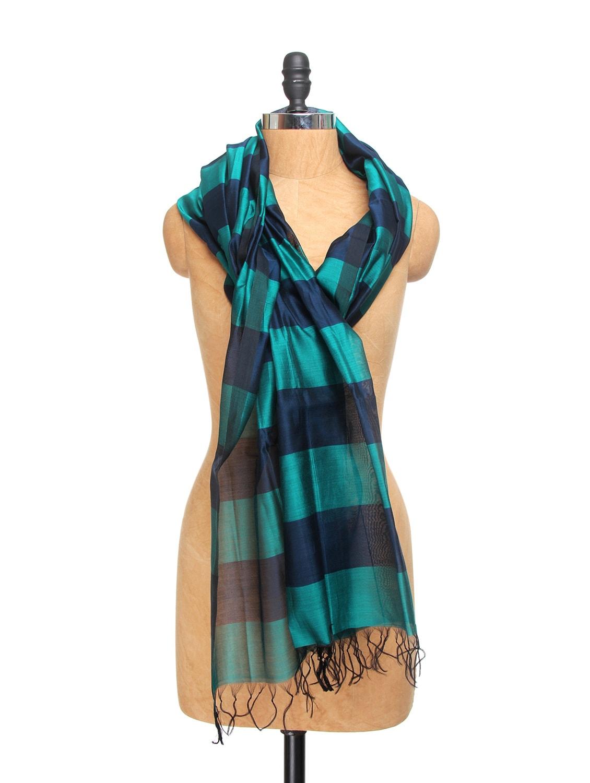 Turquoise And Navy Blue Chanderi Silk Striped Dupatta - Dupatta Bazaar