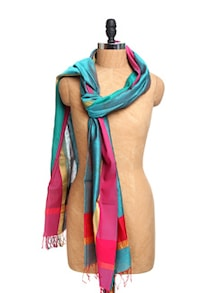 Blue Chanderi Silk Dupatta With Zari - Dupatta Bazaar