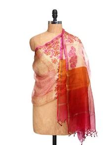 Cream Colour Kota Silk Dupatta With Doria Print - Dupatta Bazaar