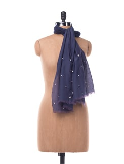 Deep Blue Cotton Silk Scarf - Chalk N Cheese Lifestyles