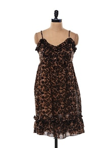 Animal Print Polyester Sheer Dress - Thegudlook