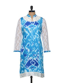 Blue And White Kurti With Lace And Velvet Detail - Arya Fashion