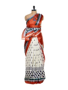 Black And White Silk Saree With Red Pallu - Purple Oyster