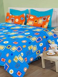 Bright Blue Printed Bed Sheet Set - Birla Century