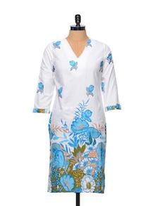 White Base Floral Print Kurta - Overdrive 847168