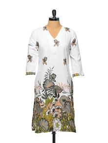 White Base Floral Print Kurta - Overdrive 847170