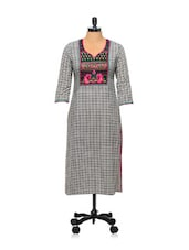 Black And White Printed Kurti - AFSANA