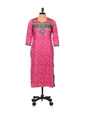 Pink And Green Leaf Print Kurti - AFSANA