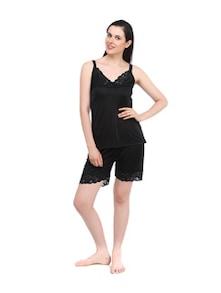 Black Bliss Satin Pajama Set - Fasense
