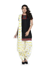 White And Yellow Polka-Dot Salwar And Dupatta Set - STRI