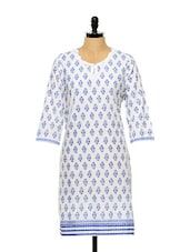 White And Blue Printed Kurti - ETHNIC