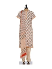 Off White And Dull Red Ethnic Print Salwar Suit - KILOL