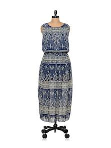 Long Printed Blue Dress - TREND SHOP