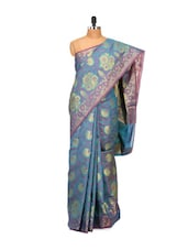 Teal Faux Chanderi Cotton Silk Saree - Bunkar