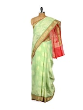 Green Cotton Silk Saree - Bunkar