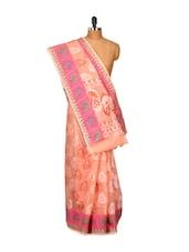 Peach Cotton Silk Saree - Bunkar
