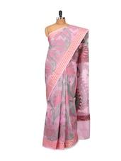 Floral Printed Lavender Cotton Silk Saree - Bunkar