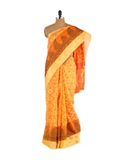 Orange Printed Cotton Silk Saree - Bunkar