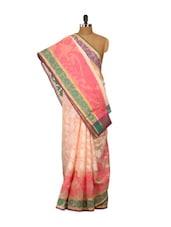 Peach Printed Cotton Silk Saree - Bunkar
