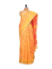 Orange And Red Faux Cotton Silk Saree - Bunkar