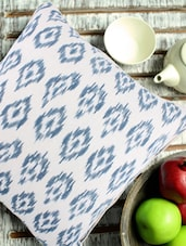 White And Blue Ikat Print Cotton Cushion Cover - Venus Designs