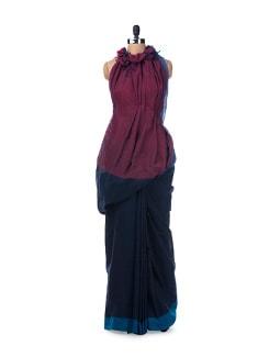 Colour Block Handloom Cotton Saree In Navy Blue - Desiweaves