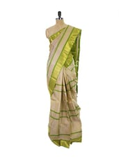 Beige Kanchipuram Parampara Pattu Silk Saree With Zari & Jacquard Work Green Border - Pothys