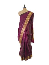 Purple Kanchipuram Handloom Silk Saree With Zari & Jacquard Work Gold Border - Pothys