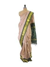 Beige Kanchipuram Handloom Silk Saree With Zari & Jacquard Work Bottle Green Border - Pothys