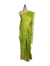 Green Kanchipuram Uppada Pattu Silk Saree With Zari Work - Pothys