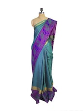 Blue Kanchipuram Mayuri Men Pattu Silk Saree With Purple Zari Border - Pothys
