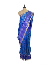 Blue Kanchipuram Mayuri Men Pattu Silk Saree With Zari Border - Pothys