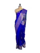 Indigo Blue Kanchipuram Mayuri Men Pattu Silk Saree With Gold Zari Border - Pothys