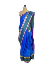 Blue Kanchipuram Arani Silk Saree With Green & Gold Zari Border - Pothys