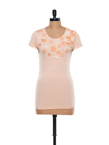 Floral Embellished Cotton Knit Top - CHERYMOYA