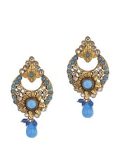 Gold And Sky Blue Flower Earrings - Vendee Fashion