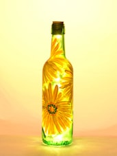 Yellow Flower LED Glass Bottle Lamp - BOTTLES NOT EMPTY