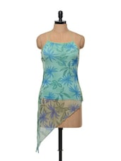 Cool Blue Halter Neck Asymmetrical Top - Glam And Luxe