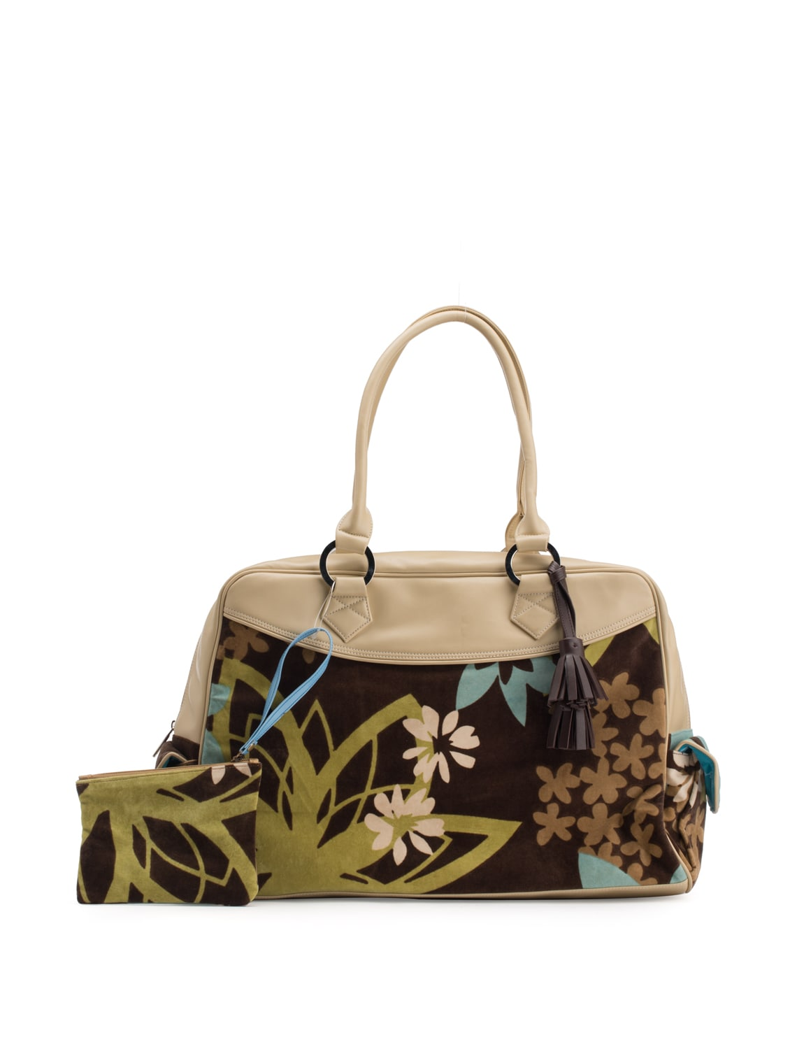 Beige Trim Overnight Bag With Floral Print - Toshe