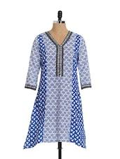 Blue And White Three Fourth Sleeve Long Kurta - Aaboli