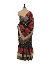 Classy Black And Red Cotton Silk Saree - Mandala