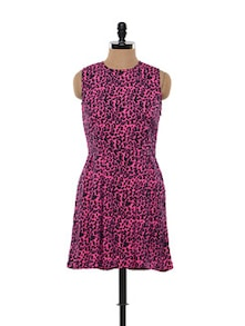 Pink And Black Animal Print Skater Dress - FEMME INDIA