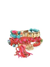 Colourful Beads And Tassel Bracelets (set Of 4) - Blueberry