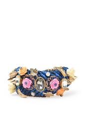 Braided Blue Resham Bracelet With Metallic And Crystal Embellishments - Blueberry