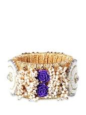 Acrylic Beads Kada With Purple Rose Embellishments - Blingles
