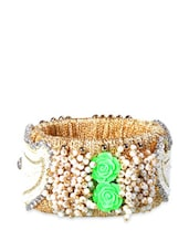 Acrylic Beads Kada With Green Rose Embellishments - Blingles